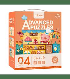 Puzzles Level up 4 3 en 1 Cerdito Pastelero