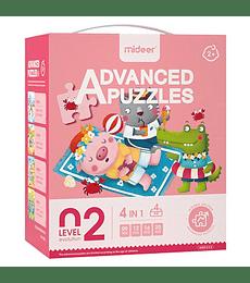 Puzzles Level up 2 4 en 1 Animales