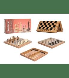 3 en 1: Ajedrez, Damas, Backgammon