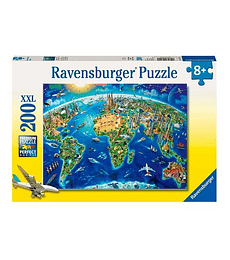 Puzzle 200 Pcs - World Landmarks Map Ravensburger