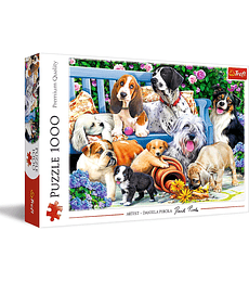 Puzzle Trefl 1000 Pcs - Dogs in the Garden