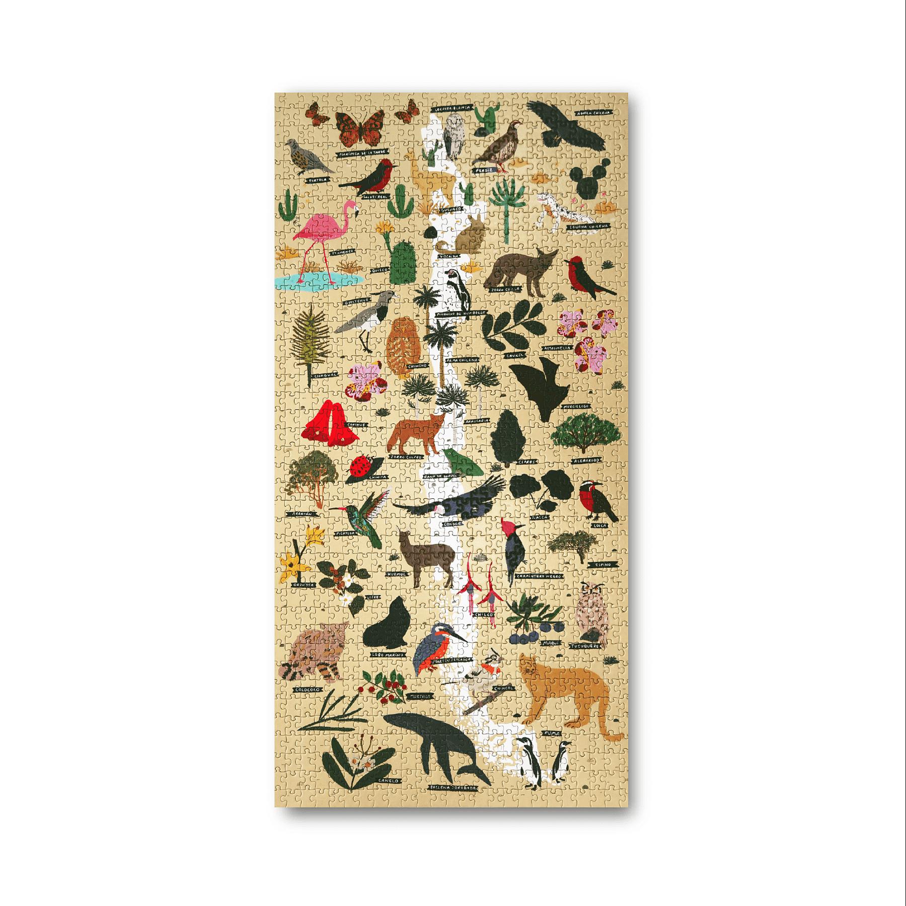 Puzzle Mapa de Chile Flora y Fauna 1000 Piezas