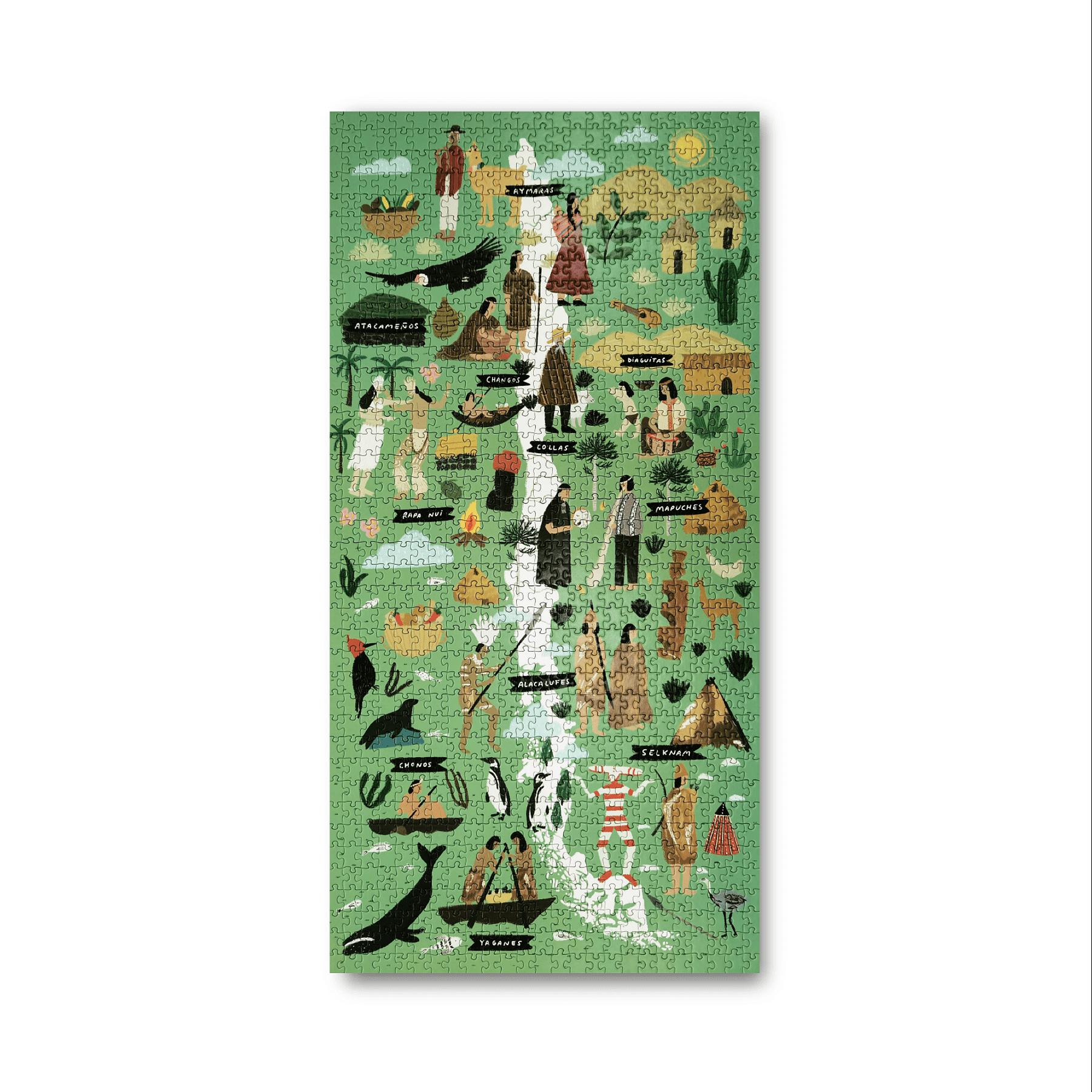 Puzzle Mapa de Chile Pueblos Originarios 1000 Piezas