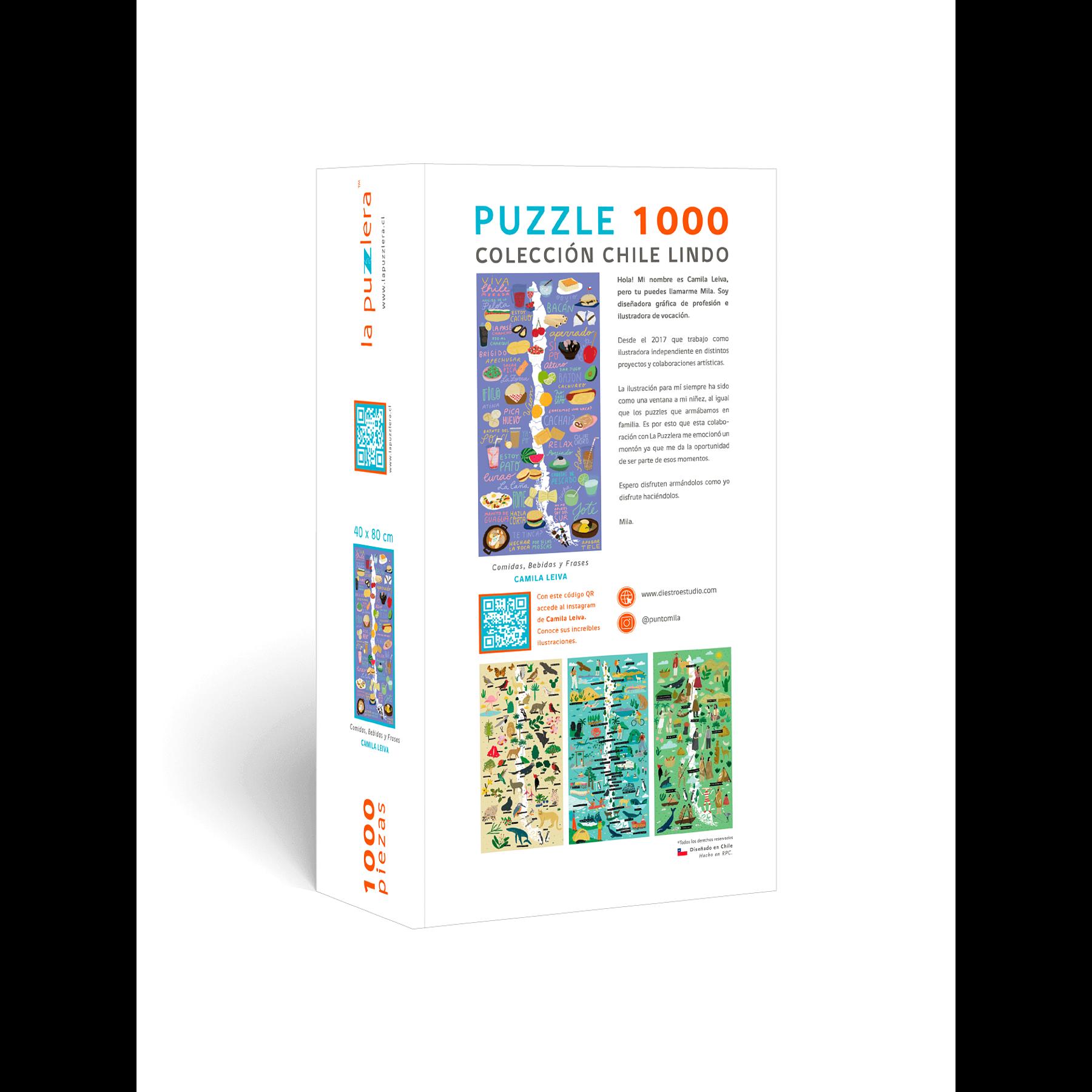 Puzzle Mapa de Chile Comidas, Bebidas y Frases 1000 Piezas