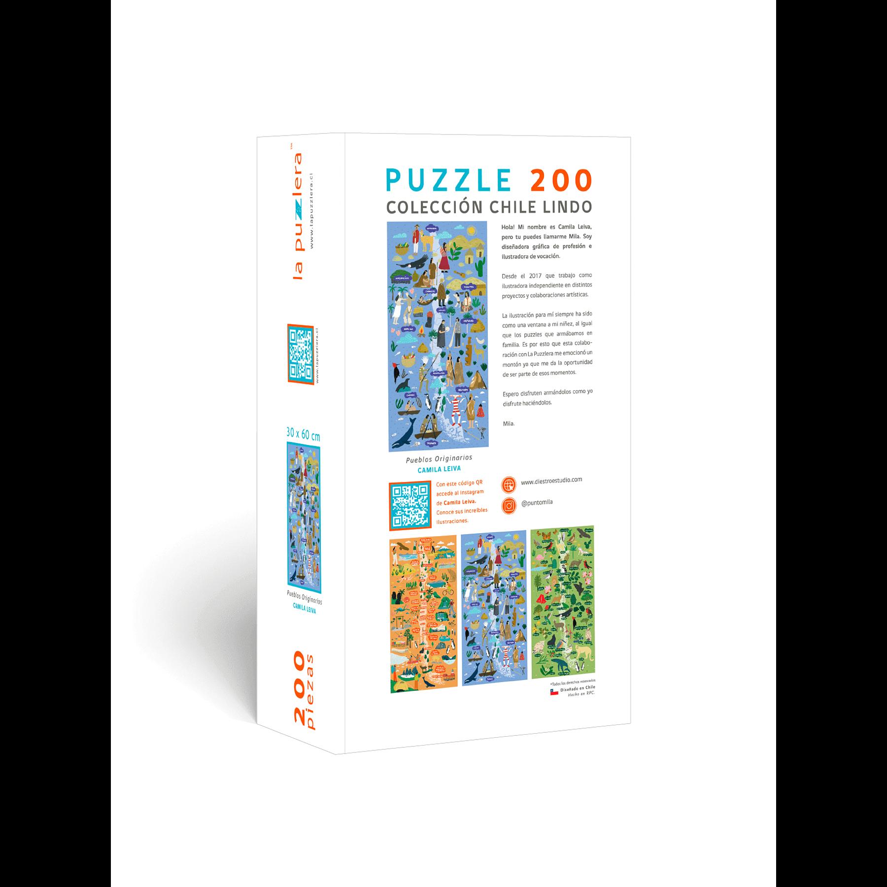 Puzzle Mapa de Chile Pueblos Originarios 200 Piezas