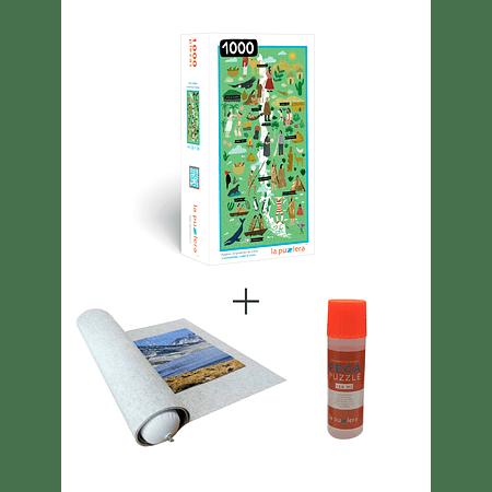 Puzzle 1000 Mapa de Chile + Puzzle Mat + Pega Puzzle