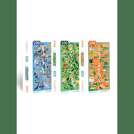 Colección Mapas de Chile 200 Piezas (3 Puzzles)