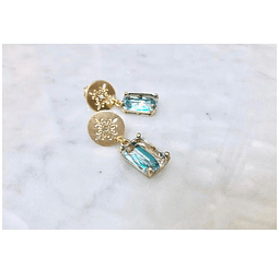 Aros mandala y cristal aguamarina