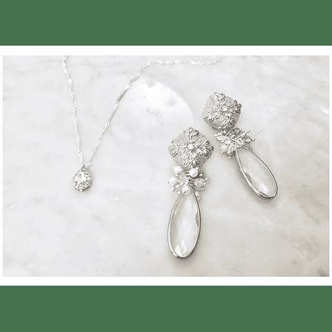 Aros olivo y cristal XL