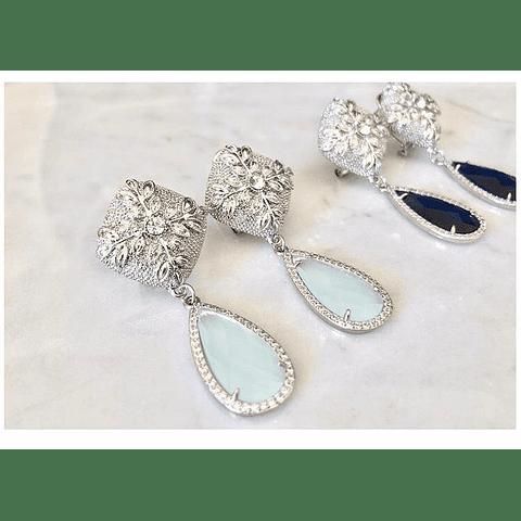 Aros olivo y cristal turquesa
