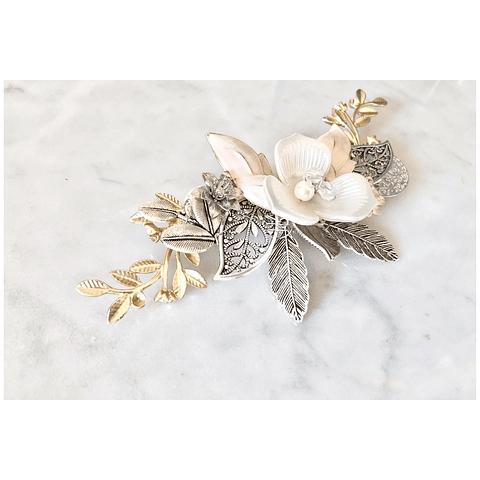 Tocado flores silver & gold