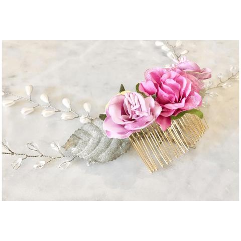 Tocado silk & pearls