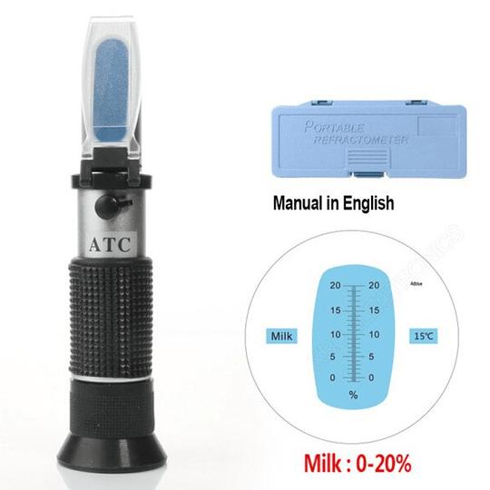 Refractometro calidad pureza de la Leche 0-20% Brix de ATC