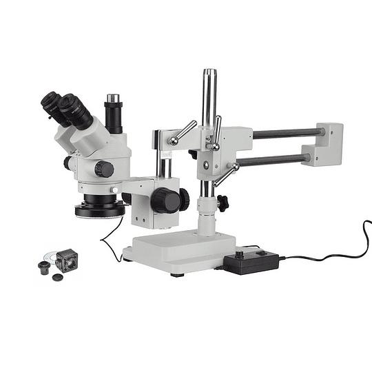 Microscopio Stereo 3.5X-90X, Camara 5MP, Zoom, Simulfocal, Stand + Boom + LED 144