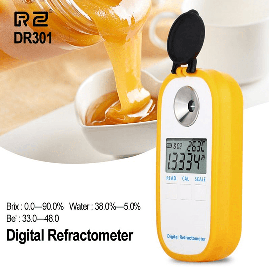 Refractometro Digital 0 ~ 90% Brix, Water: 38.0 ~ 5.0%, Be': 33.0 ~ 48.0,  R2 DR301, Bateria AAA
