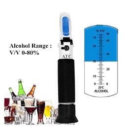 Refractómetro de mano, enómetro, detector, monitor de alcoholímetro 0-80% con ATC 40%