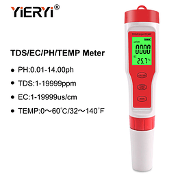 Ph Metro 4 en 1 TDS/PH/EC/TEMP, EZ-9908 con Retroiluminación, Impermeable, Digital