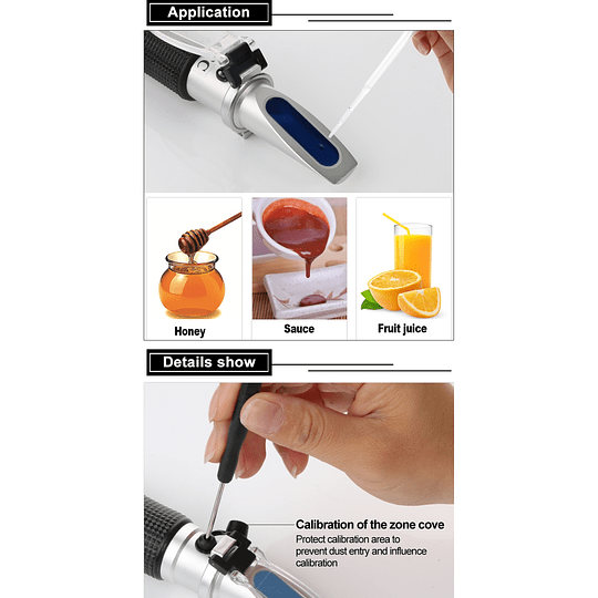 Refractometro 0-90% Brix, Azúcar, Miel, Jugos, Mermelada, Fruta