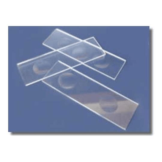 Portaobjeto con 2 concavidad  para microscopia