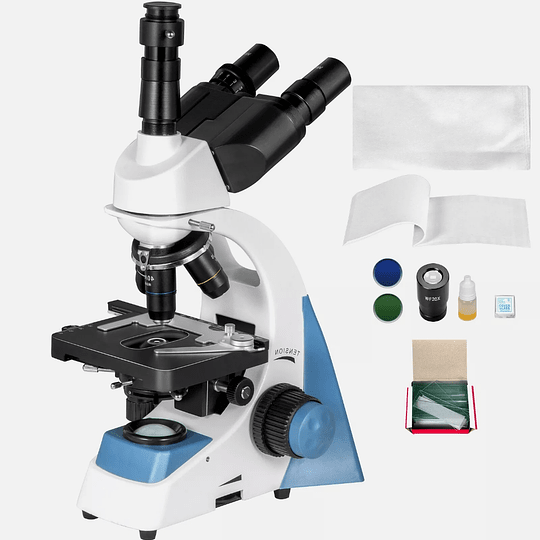 Microscopio Trinocular Vevor, Siedentopf, Camara 5MP USB, Led, 40X-2000X, Semi Profesional, Laboratorio Clinico, Veterinario