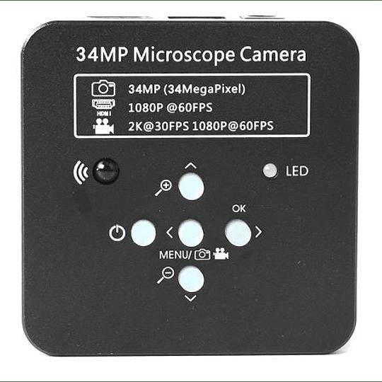 Cámara para Microscopio, Video en Full HD en PC y 2K en Monitor, 32 GB MemoriaSD, Adaptadores, Chip 34 megapixeles