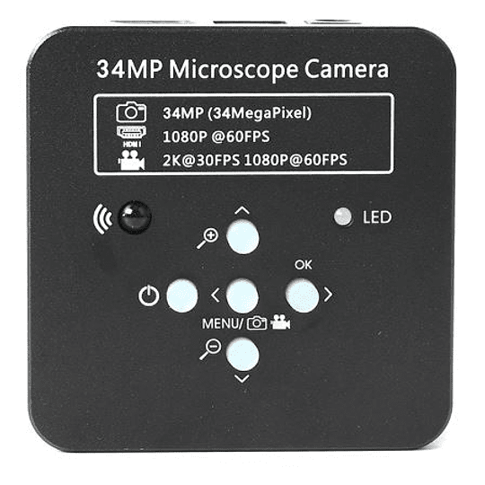 Cámara para Microscopio, Video en Full HD en PC y 2K en Monitor, 32 GB MemoriaSD, Adaptadores, Chip 38 megapixeles