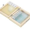 Portaobjetos con 25 muestra teñidas, Caja madera