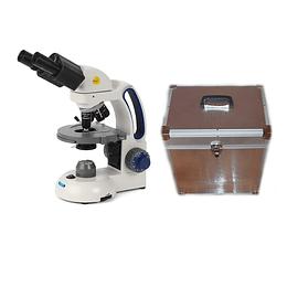 Microscopio Binocular Swift(Motic) + Caja de Aluminio de Transporte y Almacenamiento, Modelo M3702CB-4, Reacondicionado