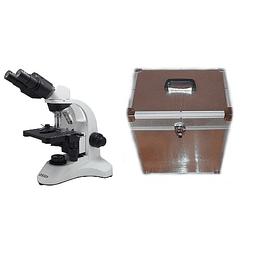 Microscopio Binocular 40x-1000x Mas Caja de Aluminio de Transporte y Almacenamiento, Led, Modelo a11.1535-b