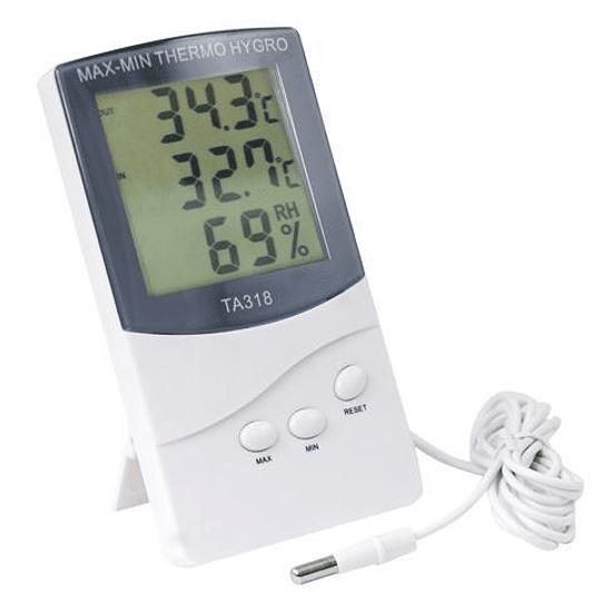 Termómetro Higrómetro digital ambiental máxima y mínima Con sonda, Modelo TA-318