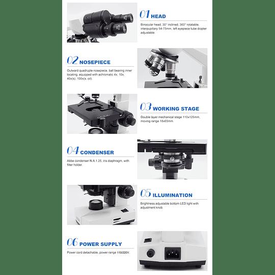 Microscopio Trinocular Incluye Camara 5MP, 40X-1000X, Modelo A11.1521/XSP-103