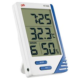 Termometro e higrometro digital ambiental y sonda kt-908, reloj, 2 teclas