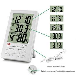 Termómetro kt-905 Higrómetro Digital exterior e Interior, gran pantalla LCD, medidor de humedad, termo, reloj, calendario, alarma