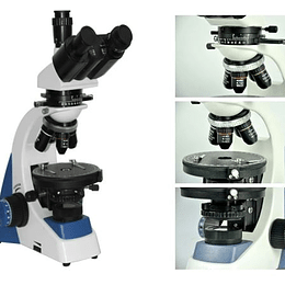 Microscopio Trinocular Modelo YJ-2005 Luz Polarizada Optica Plana-Asbesto