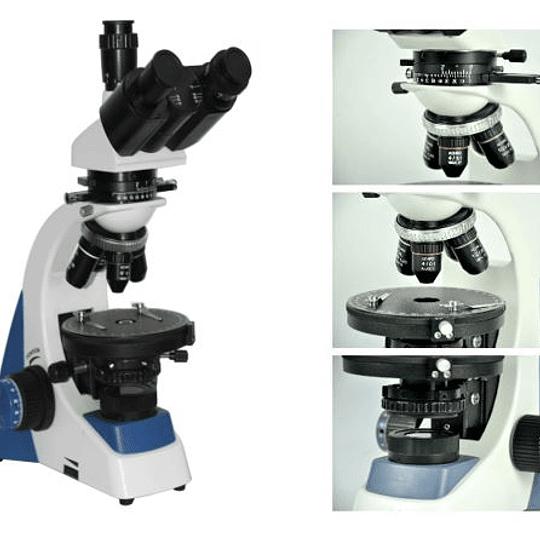 Microscopio Trinocular Ningbo-Yujie YJ-2005 Luz Polarizada Optica Plana-Asbesto