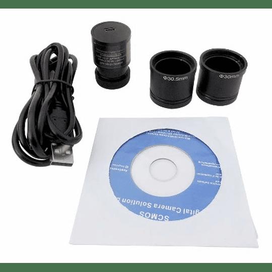 Microscopio 40x-2500x Binocular Mas Camara 5MP, Educacional, Modelo BS203, LED