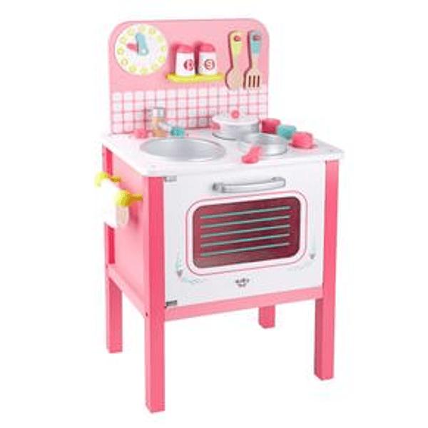 Cocina rosada grande con accesorios