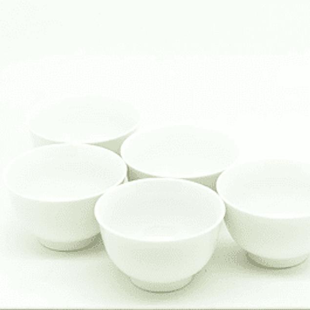 Juego de 5 vasos de porcelana blanca 60 ml