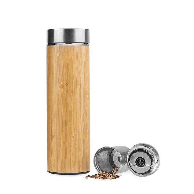 Termo de acero inoxidable y bambú SIMPLICITEA con 2 infusores 500 ml