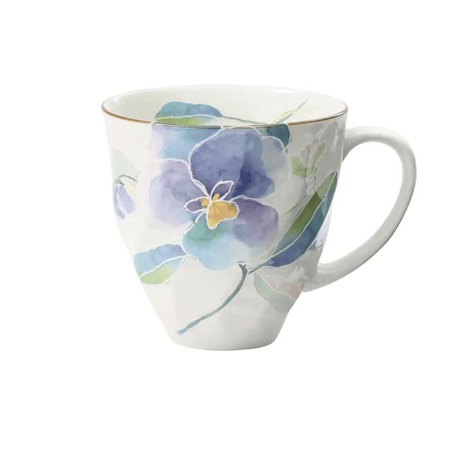 Taza de porcelana japonesa Hanakotoba Panji (Pensamiento)