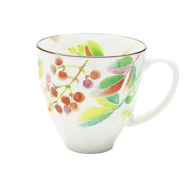 Taza de porcelana japonesa Hanakotoba Nanten (Nandina)