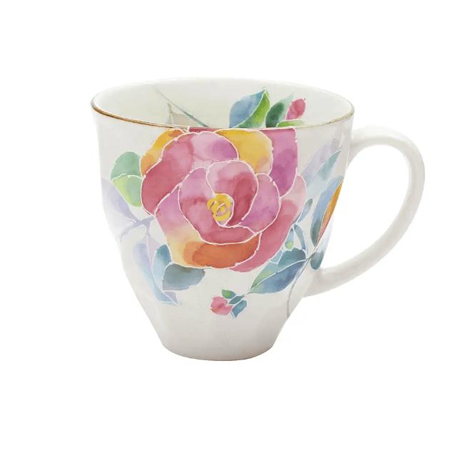 Taza de porcelana japonesa Hanakotoba Pinku No Bara (Rosa)