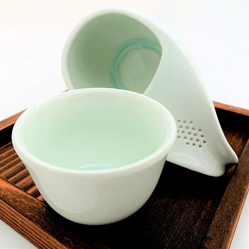 Houhin para Gyokuro - 3 piezas de madera y porcelana