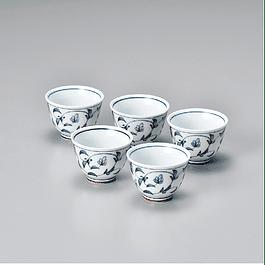Juego de 5 vasos - Porcelana japonesa azul 60 ml Y-1587