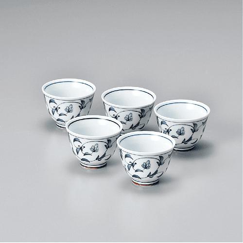 Juego de 5 vasos - Porcelana japonesa azul 60 ml