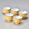Juego de 5 vasos - Porcelana japonesa amarillo oscuro 120 ml Y-1593