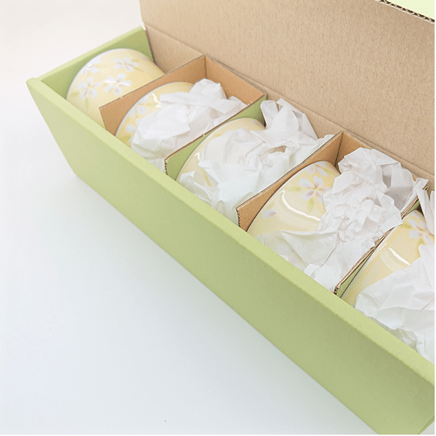 Juego de 5 vasos - Porcelana japonesa amarillo oscuro 120 ml