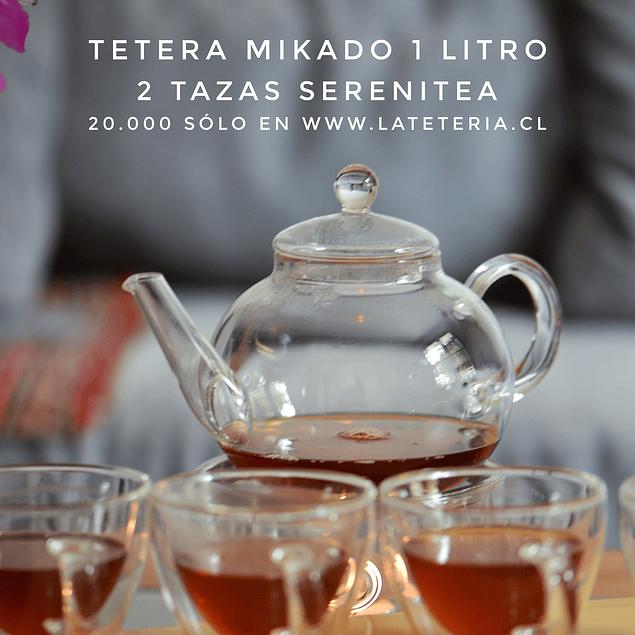 Juego de tetera Mikado 1 litro y 2 Tazas Doble Pared Serenitea