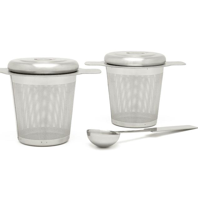 Set de 2 Filtros para té de acero inoxidable con cuchara de medida