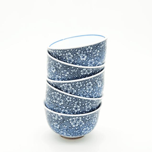 Juego de 5 vasos - Porcelana japonesa sakura azul 60 ml
